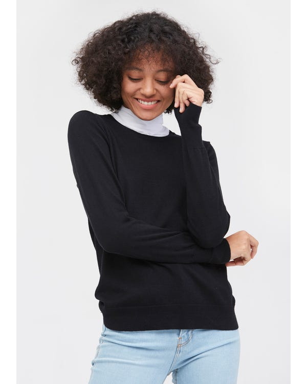 Round Neck Solid Color Sweater Black L