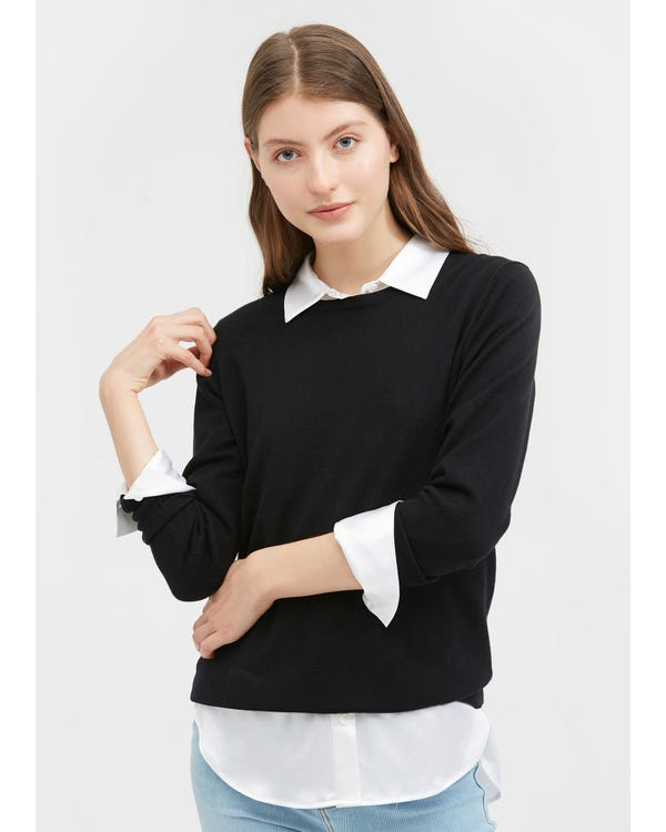 Round Neck Solid Color Sweater Black L-hover