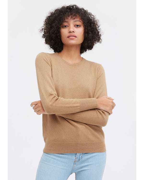 Round Neck Solid Color Sweater Camel S
