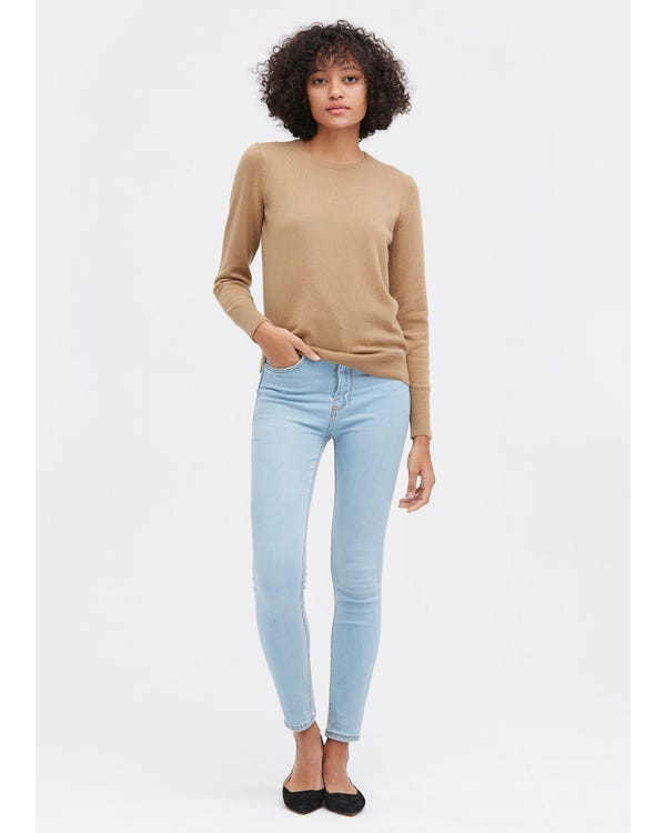 Round Neck Solid Color Sweater Camel S-hover