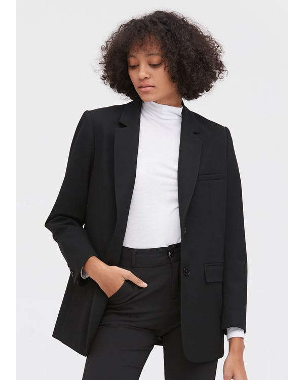Basic Long Sleeve Silk Liner Blazer Black M
