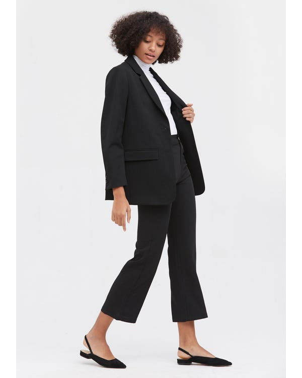Basic Long Sleeve Silk Liner Blazer Black M-hover