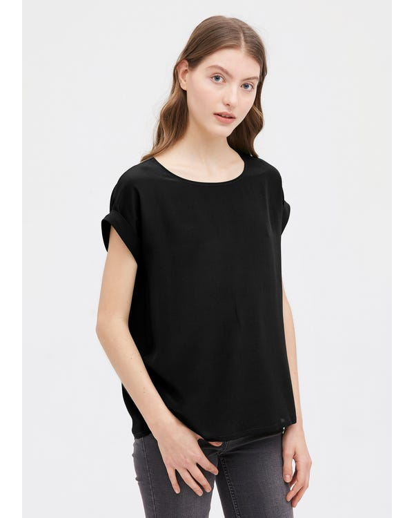 Basic Banded Cuff Silk Tee Black XL