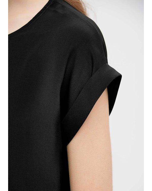 Basic Banded Cuff Silk Tee Black XL-hover