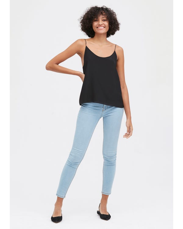 Simple U-Neck Silk Camisole-hover
