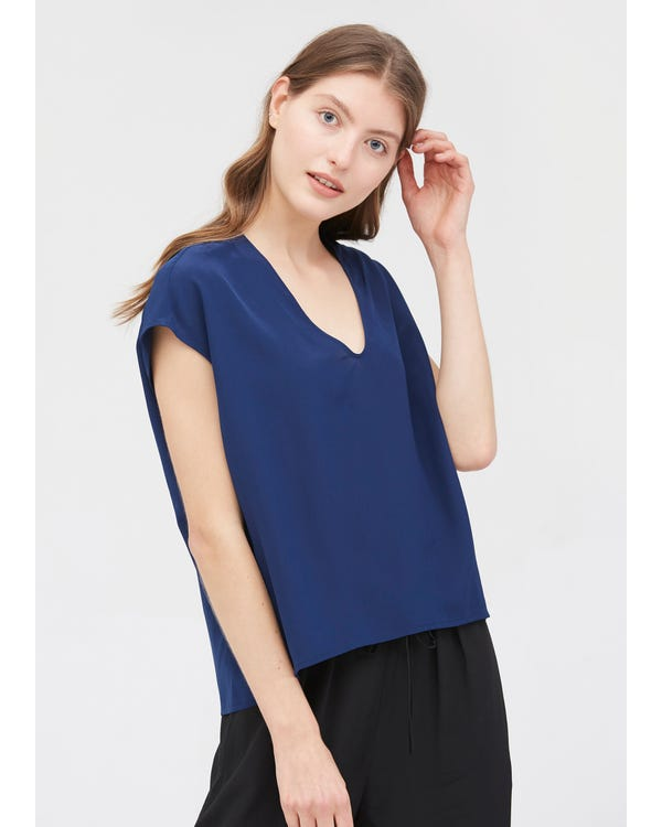 Casual V Neck Loose Silk T-shirt