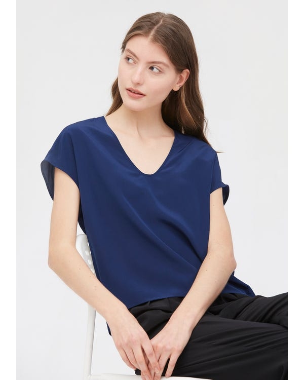 Casual V Neck Loose Silk T-shirt-hover