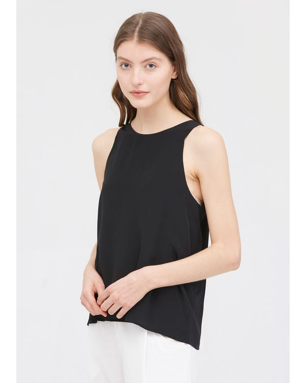 Round Neck Sleeveless Silk Camisoles Black XXL