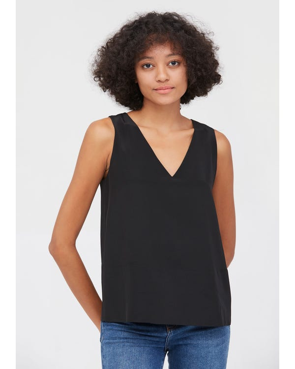 V Neck Sleeveless Silk Camisoles Black XS