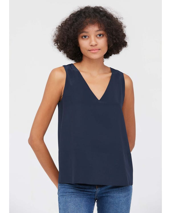 V Neck Sleeveless Silk Camisole Navy Blue JPXXXL