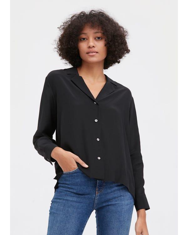 Elegant Zijden Hemd Met Lange Mouwen Black XL