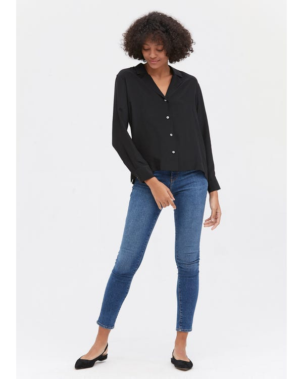 Elegantes langärmliges Seidenhemd Black XS-hover
