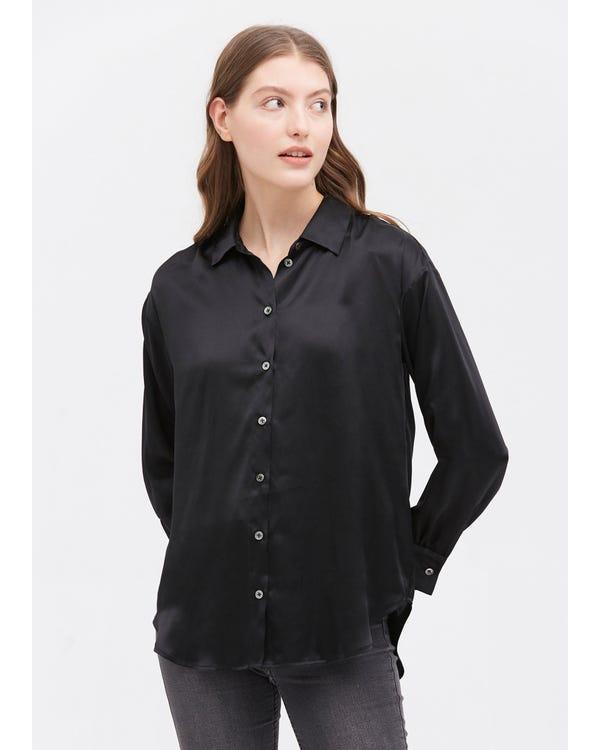 Casual Style Silk Basic Blouse Black XXL