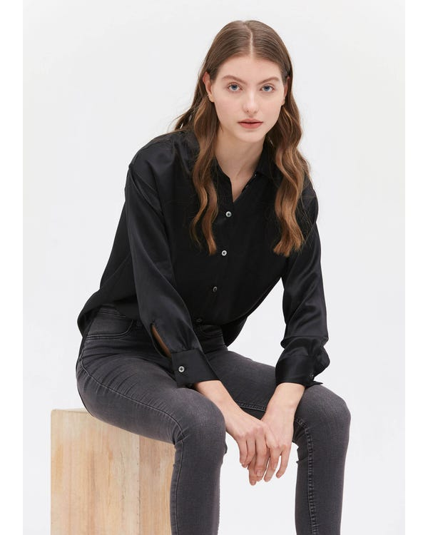 Casual Style Silk Basic Blouse Black XXL-hover