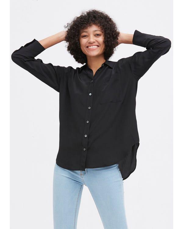 Drop Shoulders Oversize Silk Shirt Black XL