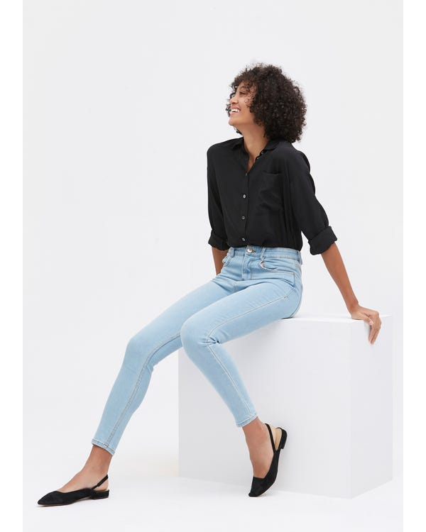 Drop Shoulders Oversize Silk Shirt Black XL-hover