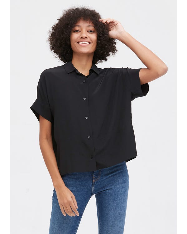 Casual Short Sleeves Loose Silk T-Shirt Black XL