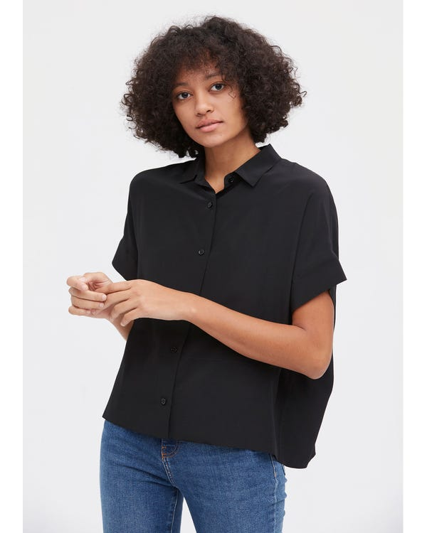 Casual Short Sleeves Loose Silk T-Shirt Black XL-hover