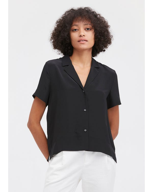 V Neck Half-Sleeve Notch Silk Shirt Black XL