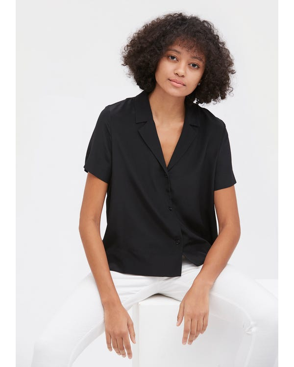 V Neck Half-Sleeve Notch Silk Shirt Black XL-hover