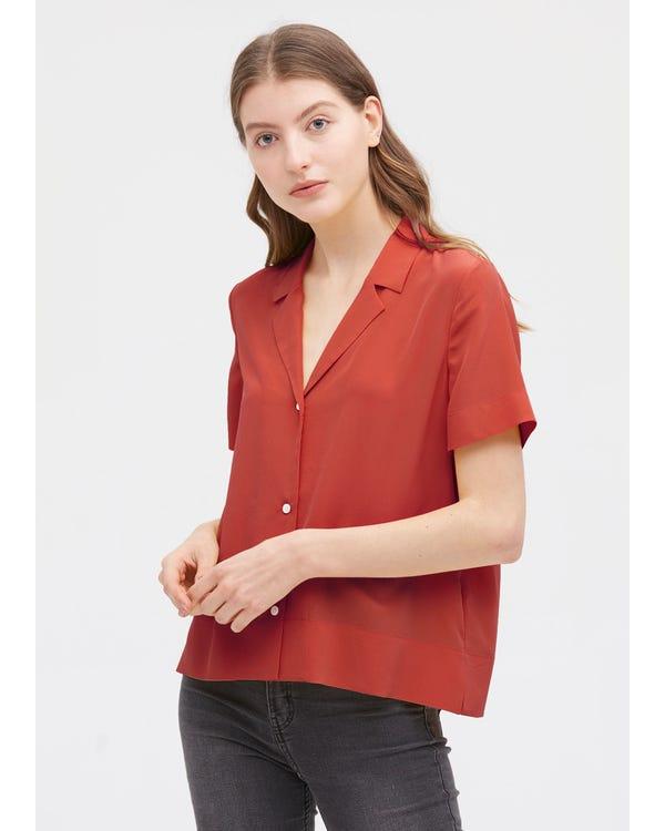 V Neck Half-Sleeve Notch Silk Shirt Brownish-Red JPXXXL