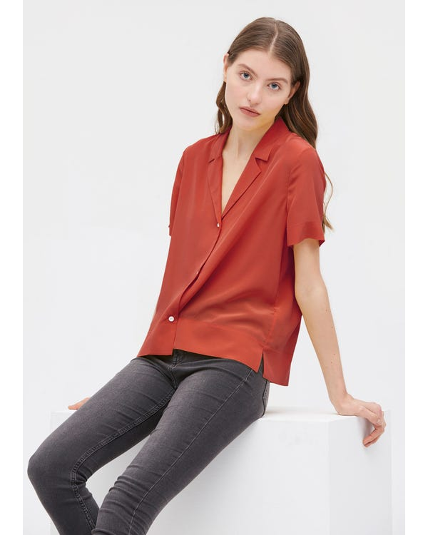 V Neck Half-Sleeve Notch Silk Shirt Brownish-Red JPXXXL-hover