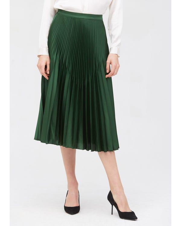 Retro Pleated Midi Silk Skirt Green-Jade L