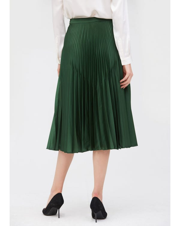 Retro Pleated Midi Silk Skirt Green-Jade L-hover