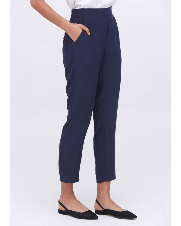 Mid-Rise Cigarette Cropped Pants Navy Blue 31B