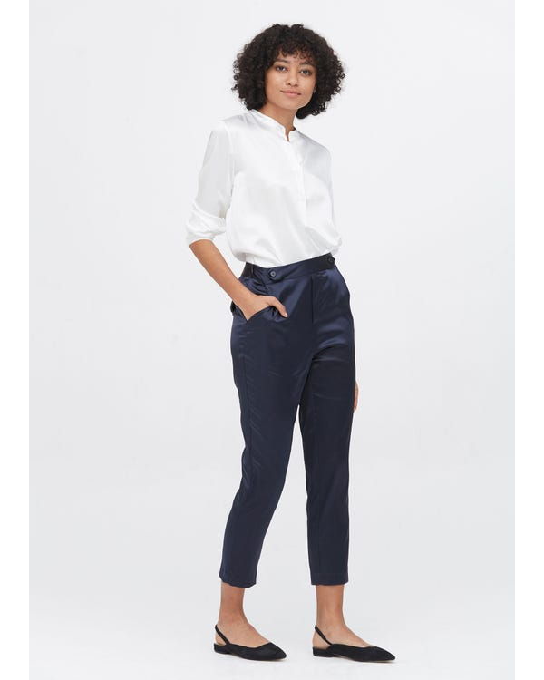 Comfort Fit Silk Cigarette Pants