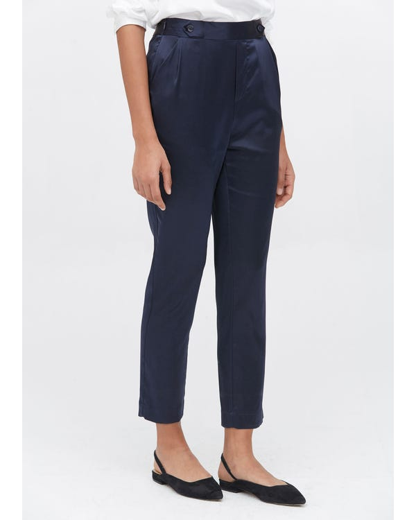 Comfort Fit Silk Cigarette Pants Navy Blue 31B-hover