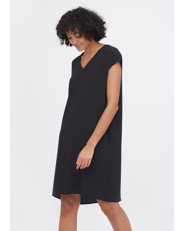 Casual Above Knee Shift Silk Dress Black XXL