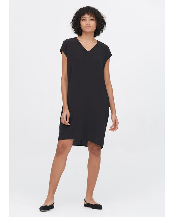 Casual Above Knee Shift Silk Dress Black XXL-hover