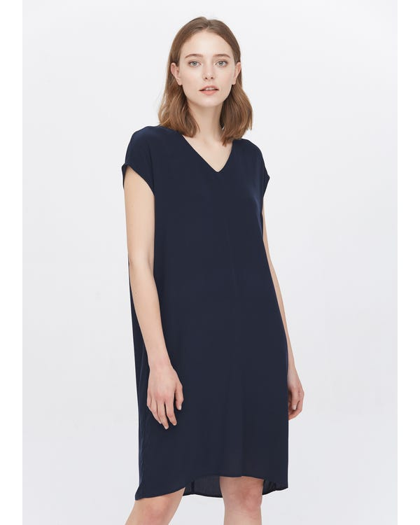 Casual Above Knee Shift Silk Dress