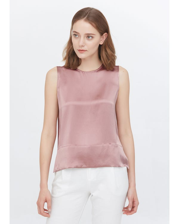 Elegant Round Neck Silk Tank Tops