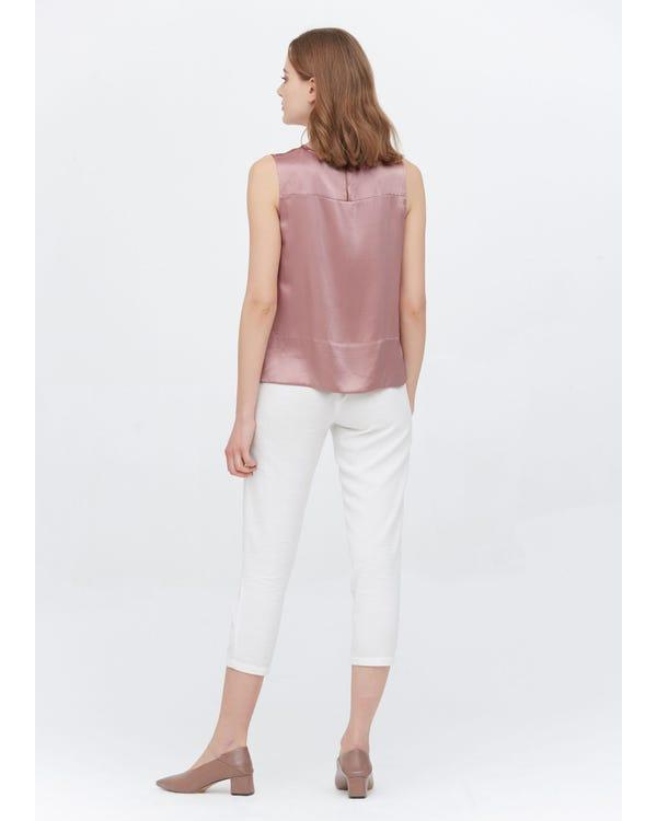 Elegant Round Neck Silk Tank Tops Quicksand-Pink XXL-hover