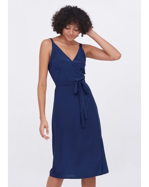 Sexy Fashion Silk Camisole Wrap Dress Dark blue XXL
