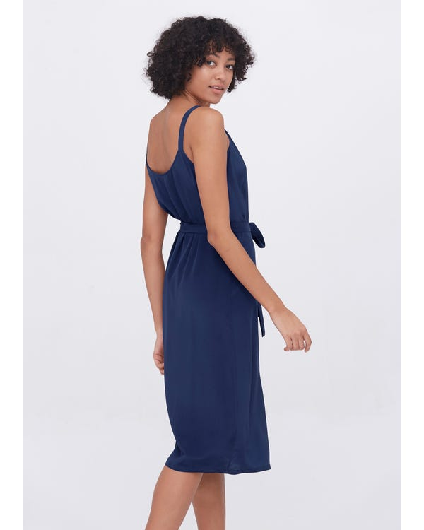 Sexy Fashion Silk Camisole Wrap Dress Dark blue XXL-hover