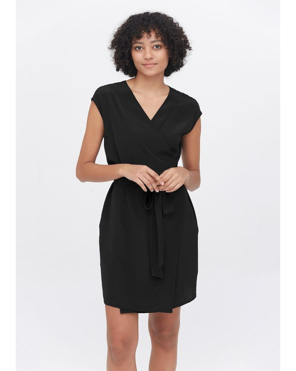 Elegant Silk V-Neck wrap Dress Black XXL
