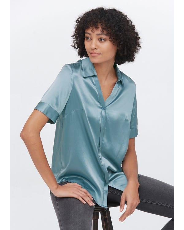 Versatile Silk Short Sleeve Shirt Blue-Haze XXL