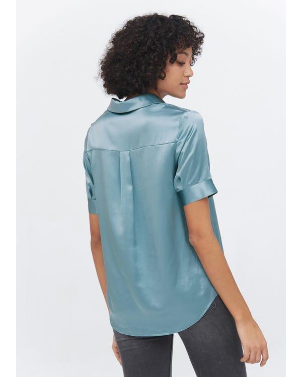 Versatile Silk Short Sleeve Shirt Blue-Haze XXL-hover