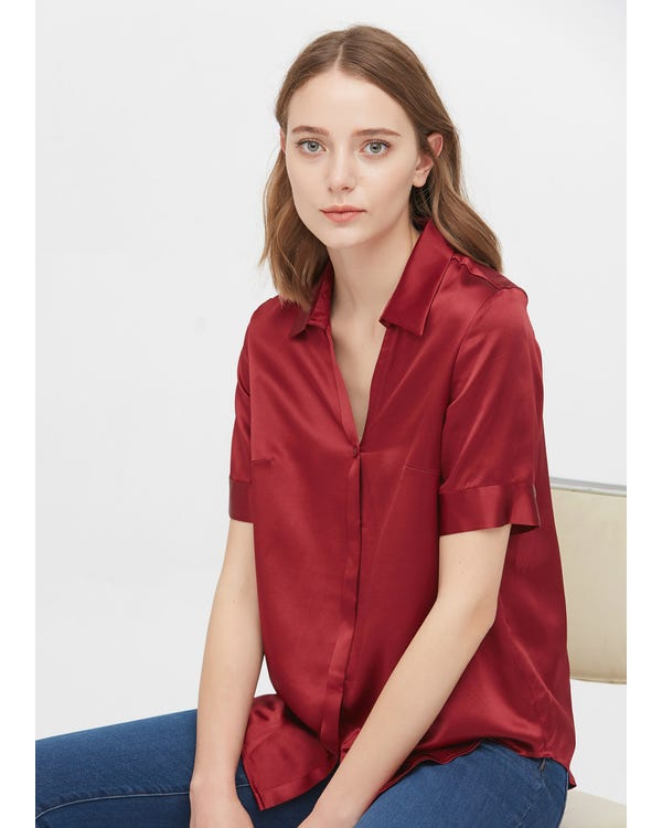 Versatile Silk Short Sleeve Shirt-hover