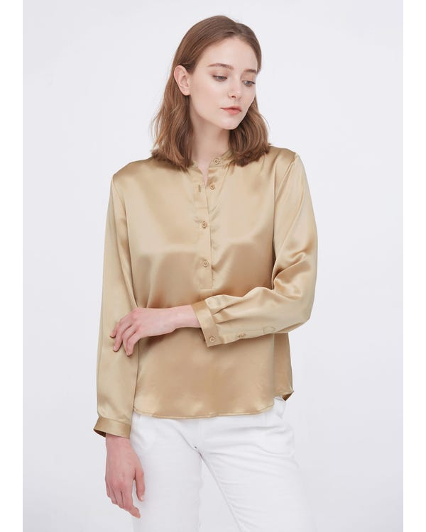 Stand Collar Casual Silk Blouse