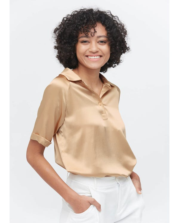Womens Classic Silk Polo Shirts