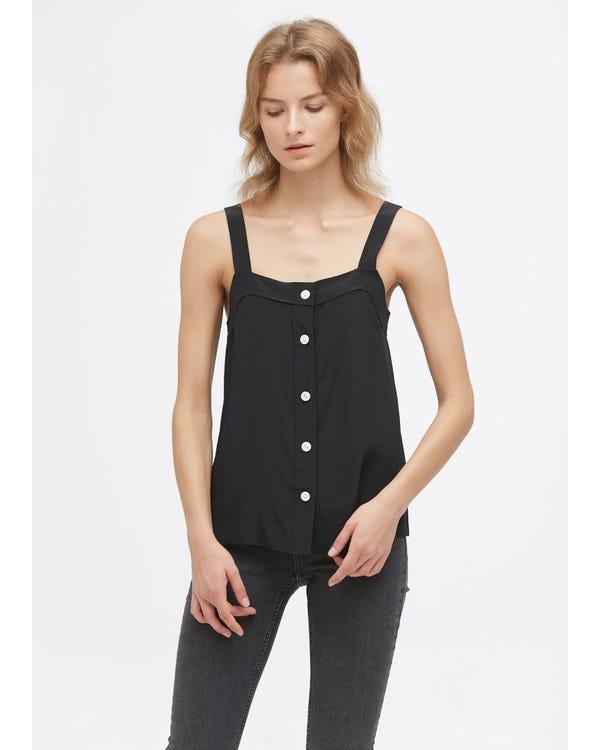 Front Button Sleeveless Silk Cami