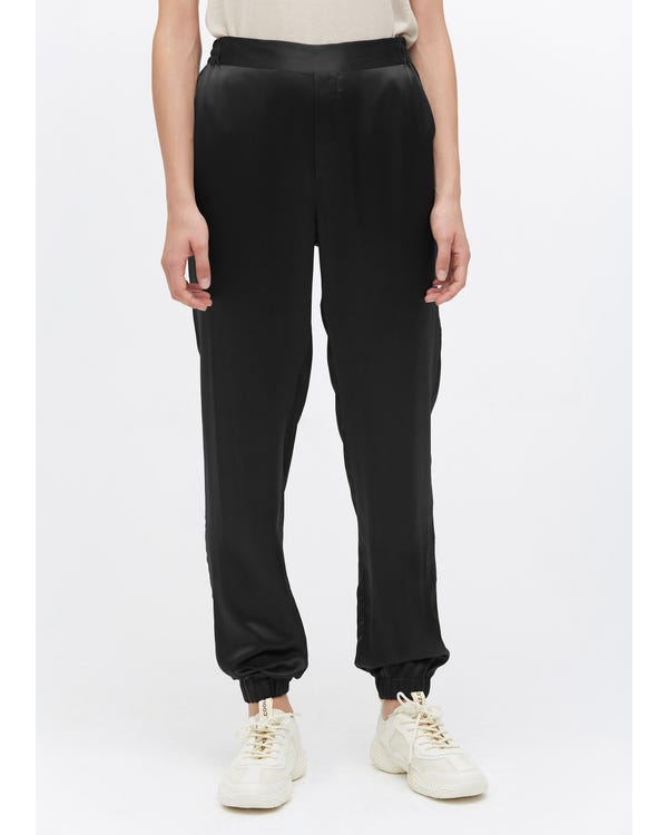 Elastic Hem Casual Silk Pants Black 31B