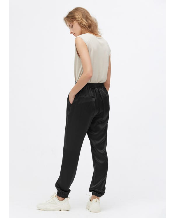 Elastic Hem Casual Silk Pants Black 32B