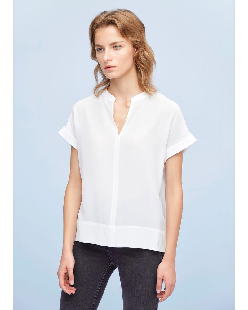 Versatile Split Neck Silk T-shirt