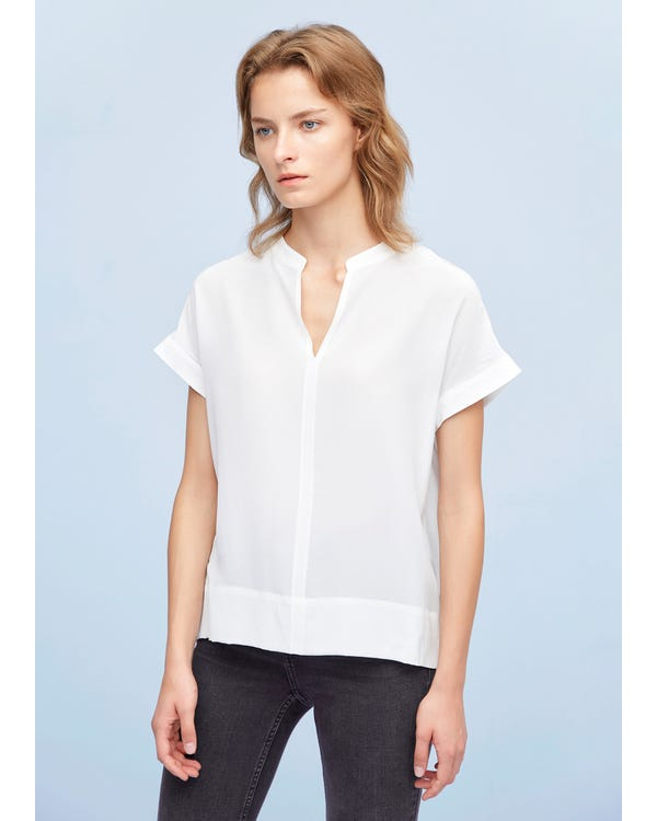 Versatile Split Neck Silk Tee