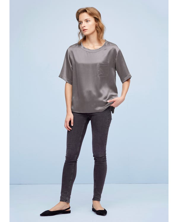 Comfy Pullover Round Neck Silk Top Dark Gray XL